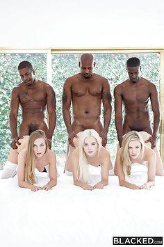 Blacked: Elsa Jean, Rachel James & Sydney Cole interracial schoolgirl orgy