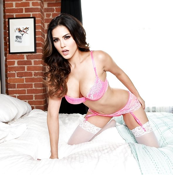 Sunny Leone in pink lingerie & stockings