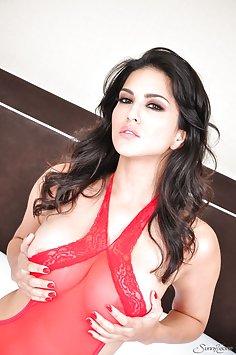 Sunny Leone in red sheer bodysuit